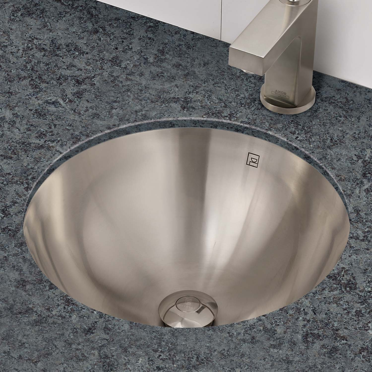 DECOLAV Hayley 1220 Simply Stainless Collection   Round Undermount  Stainless Steel Bathroom Sink