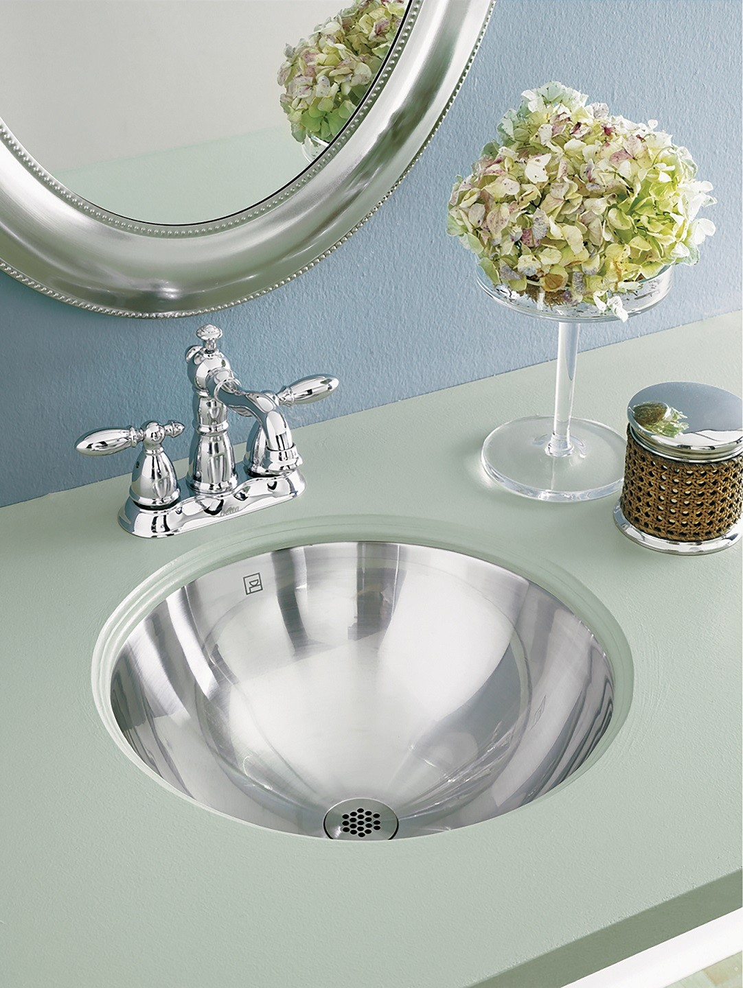 Decolav hayley 1220 simply stainless collection round - Small round undermount bathroom sinks ...