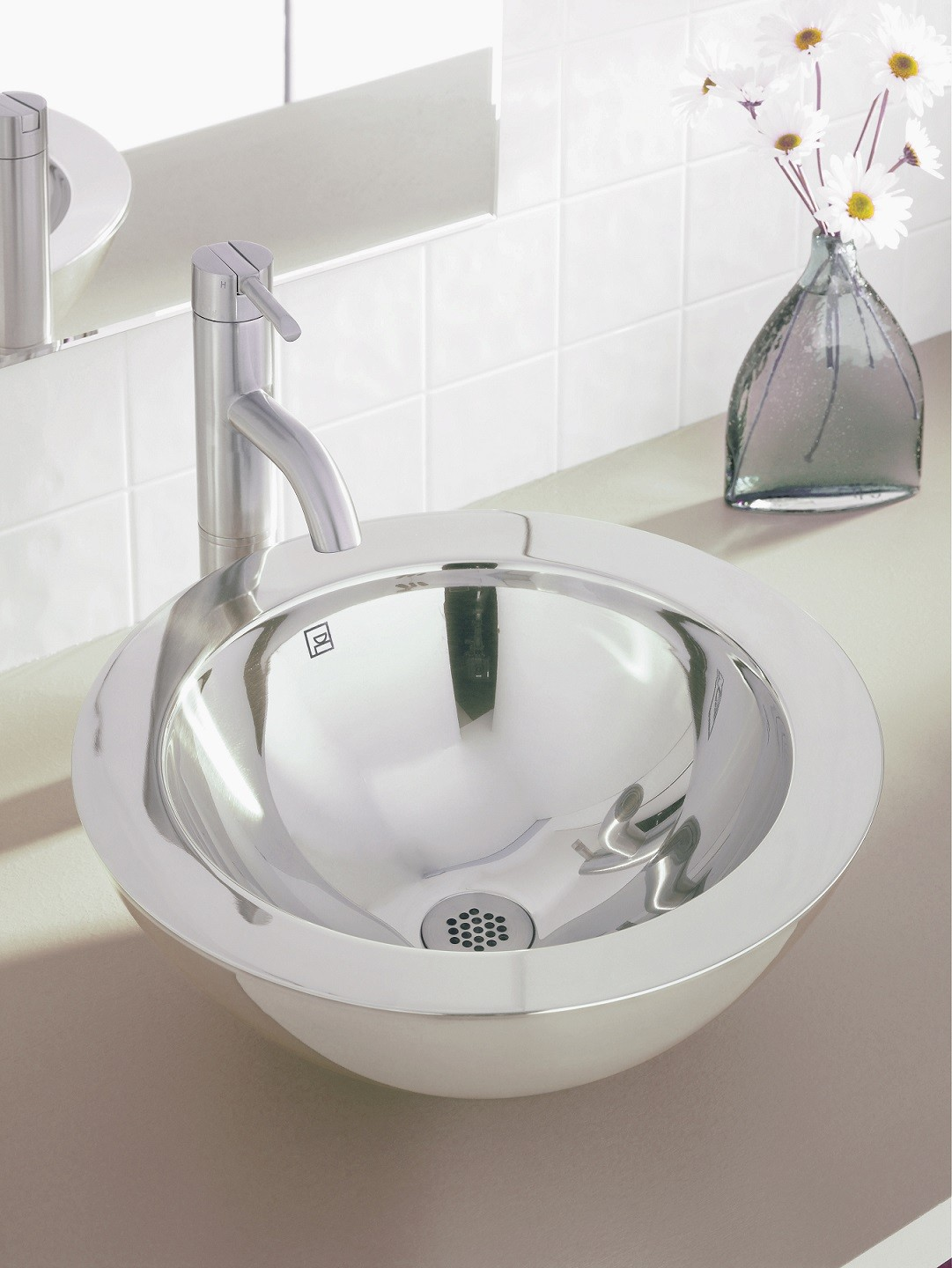 Stainless Steel Bathroom Sinks | Decolav Simin 1228 Simply Stainless Collection Round Above