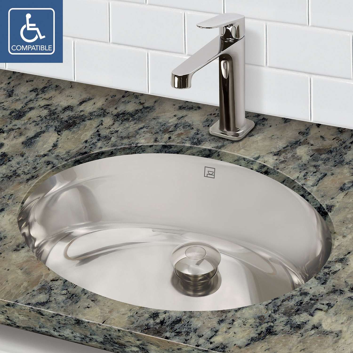 Decolav taji 1300 simply stainless collection oval - Commercial bathroom sinks stainless steel ...
