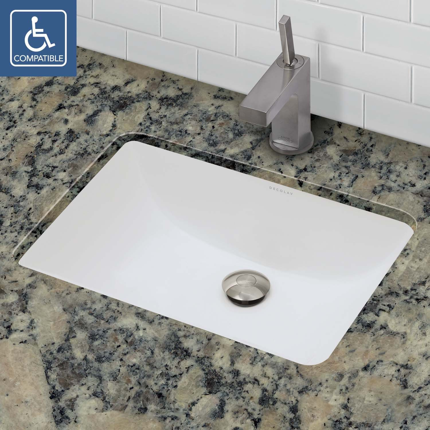 a rectangle vitreous china sink has it all  classic design  high  functionality and timeless beauty  This rectangular undermount bathroom sink  has soft. DECOLAV Callensia 1402 Series   Rectangular Undermount Vitreous