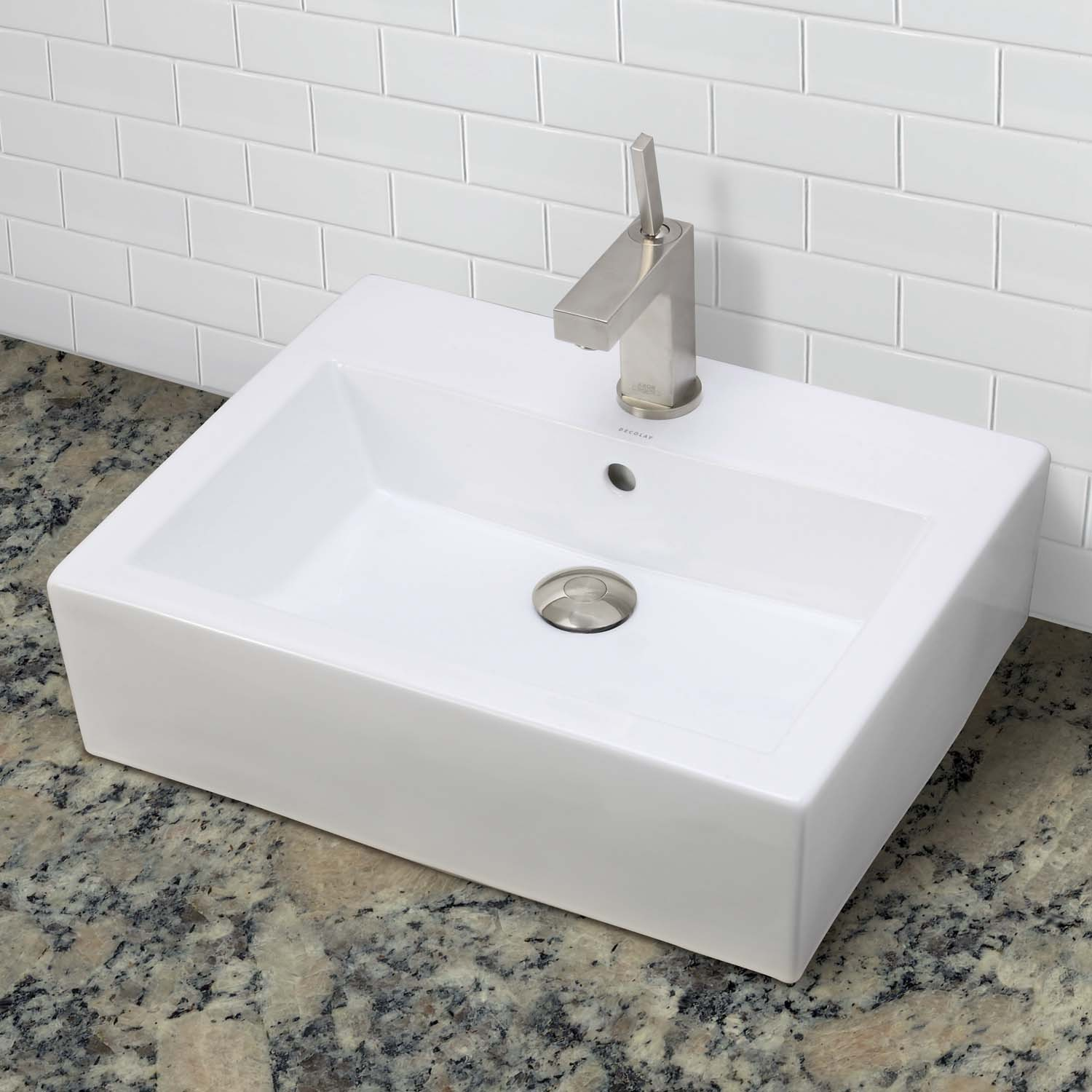 decolav bluebell 1417 1 cwh rectangular above counter vitreous china bathroom sink. Black Bedroom Furniture Sets. Home Design Ideas