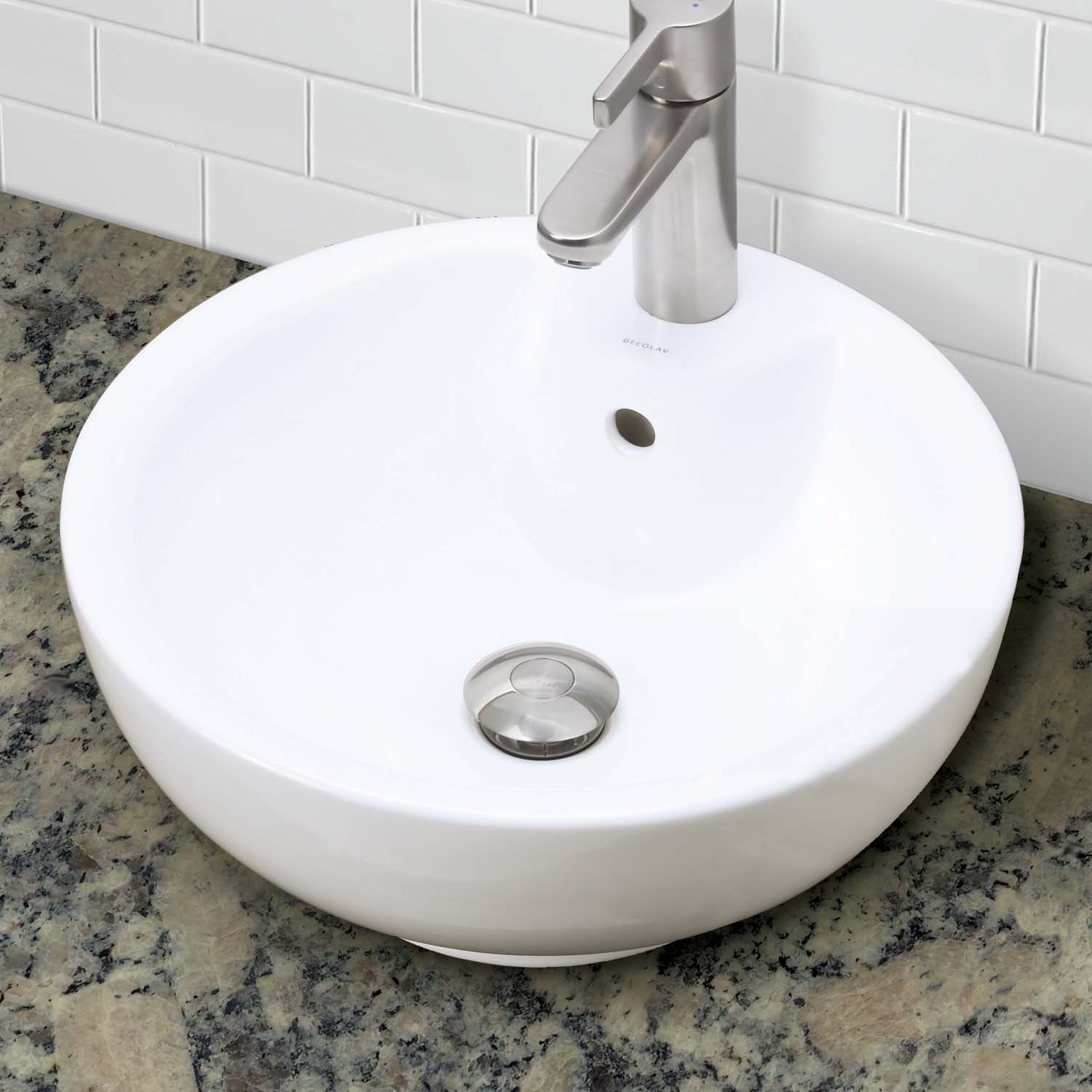 decolav kyra 1451 cwh round above counter vitreous china bathroom sink. Black Bedroom Furniture Sets. Home Design Ideas
