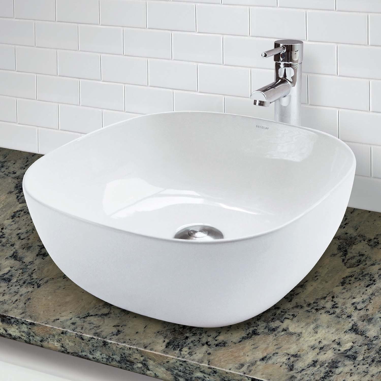 decolav 1488 cwh square above counter vitreous china bathroom sink. Black Bedroom Furniture Sets. Home Design Ideas