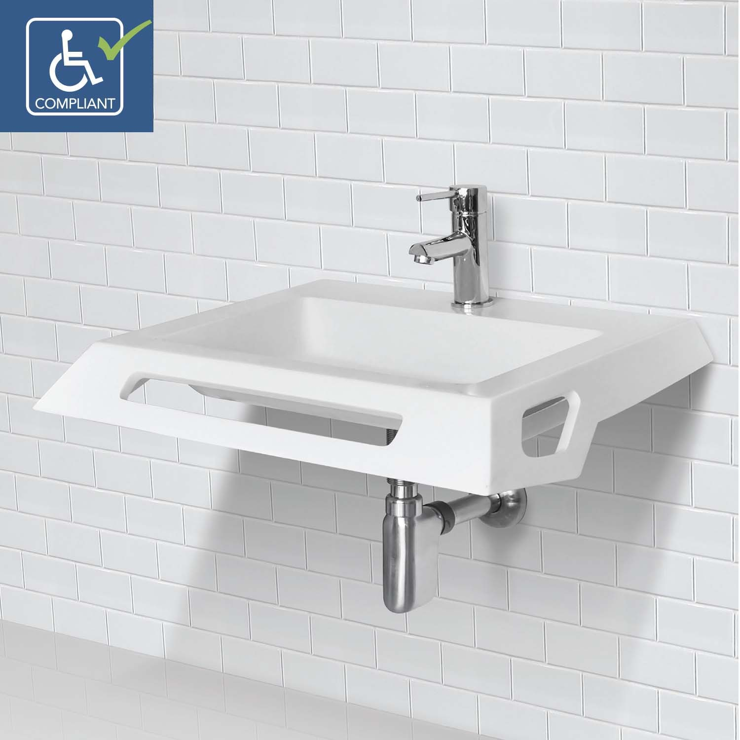 Decolav Lexine 1833 Ssa Solid Surface Ada Compliant Wall