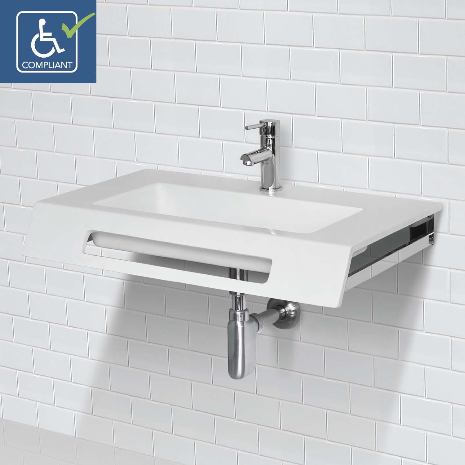Decolav Ellie 1835 Ssa Solid Surface Ada Compliant Wall Mount Bathroom Sink