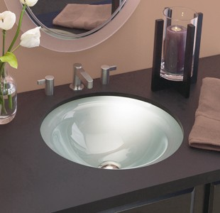 Superbe DECOLAV Terra 1000TU Translucence Collection   Round Undermount 12mm Glass  Bathroom Sink