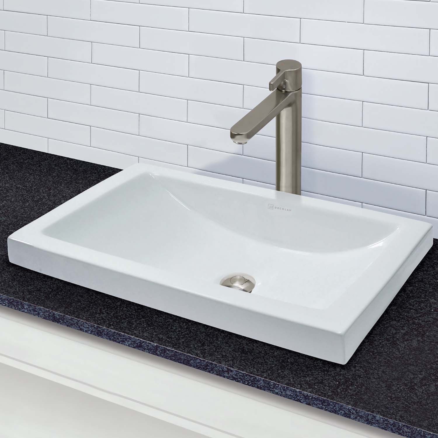 Breanna Rectangular Semi Recessed Vitreous China Lavatory