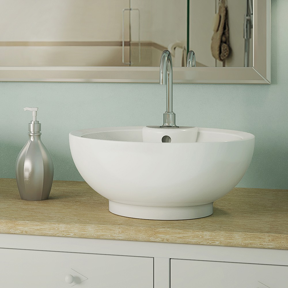 DECOLAV Kyra 1451-CWH - Round Above-Counter Vitreous China Bathroom Sink