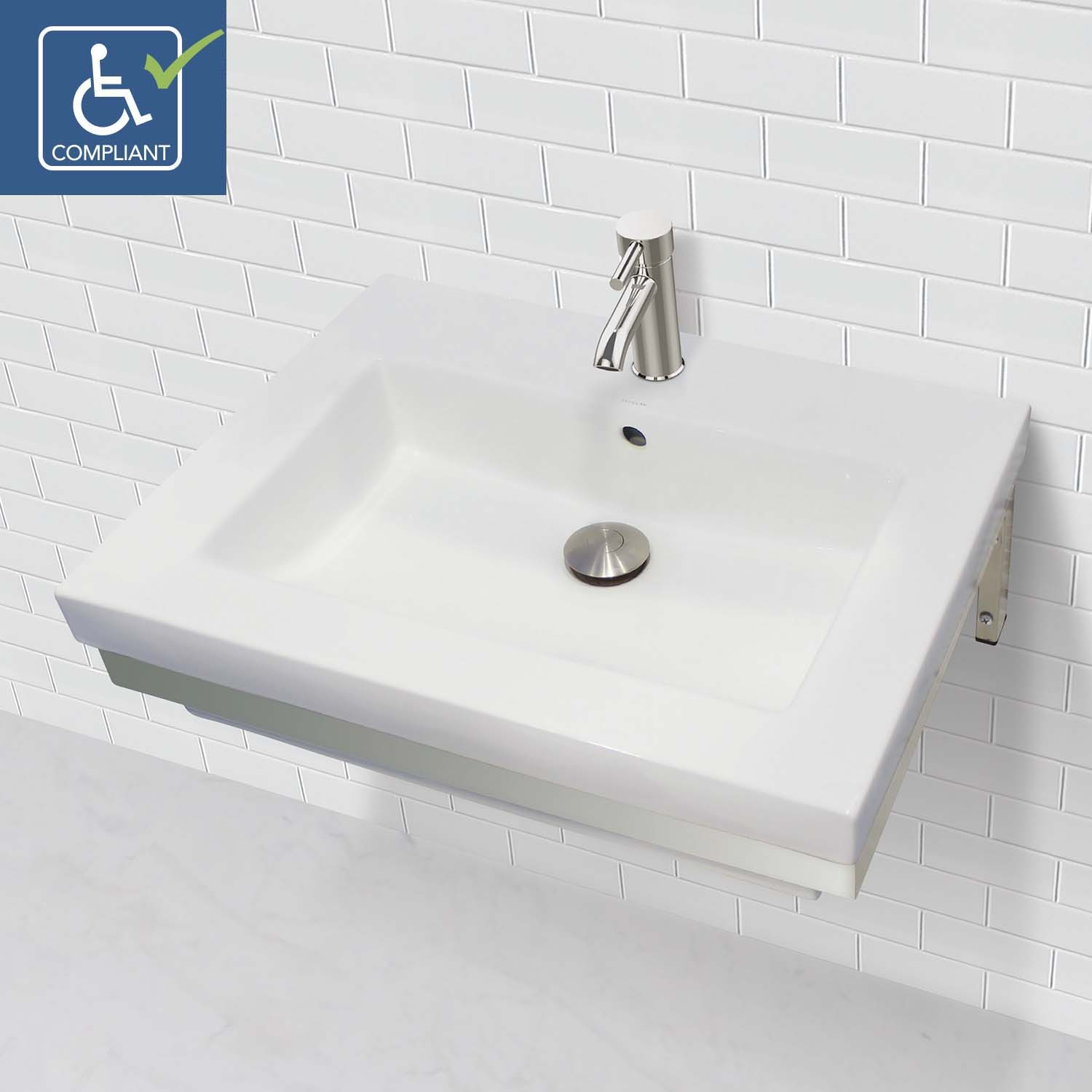 CLASSICALLY REDEFINED® WALL-MOUNT RECTANGULAR BATHROOM SINK WITH STAINLESS STEEL MOUNTING BRACKET