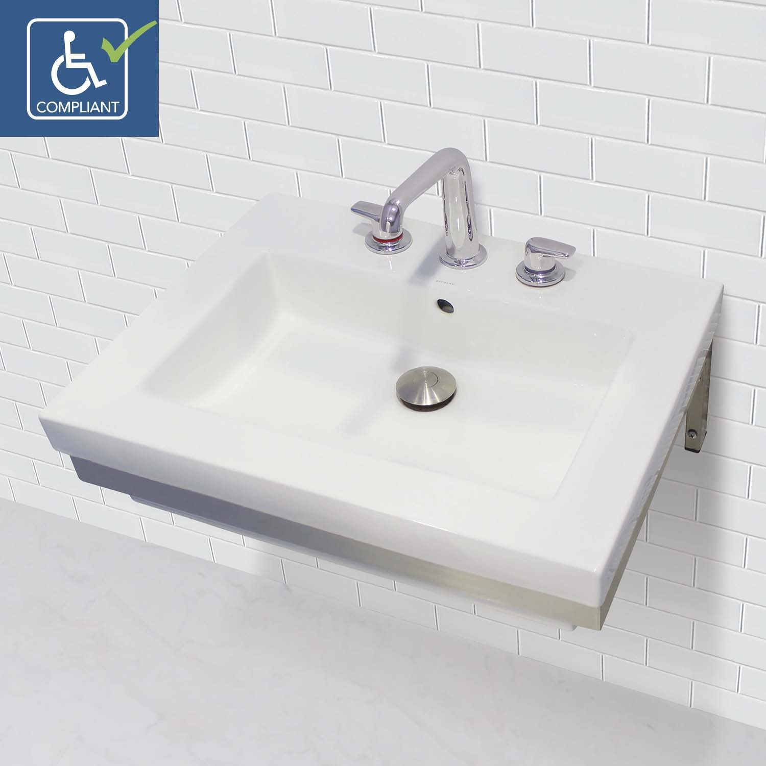 Classically Redefined Wall Mount Rectangular Bathroom Sink With Stainless Steel Mounting Bracket
