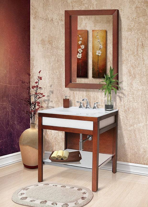 PARK AVENUE® BATHROOM VANITY WITH PAINTED TEMPERED GLASS INTEGRATED BATHROOM SINK