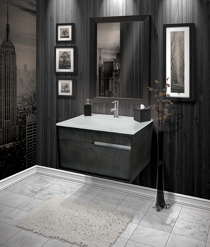 wall mount vanity, cityscape, monochromatic, black and white vanity, bathroom design, bathroom remodel
