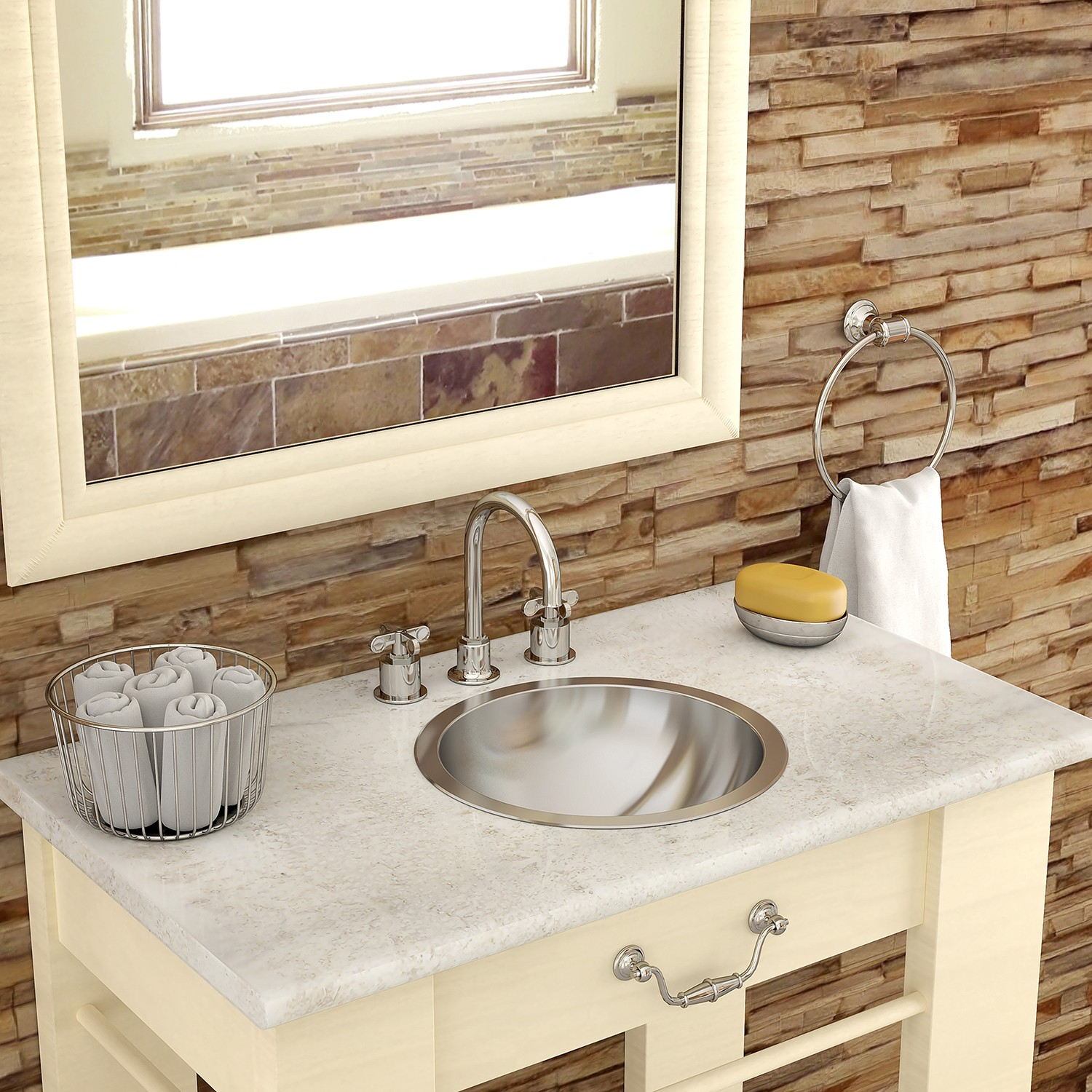 Decolav Teanna 1201 Simply Stainless Collection Round Undermount Steel Bathroom Sink