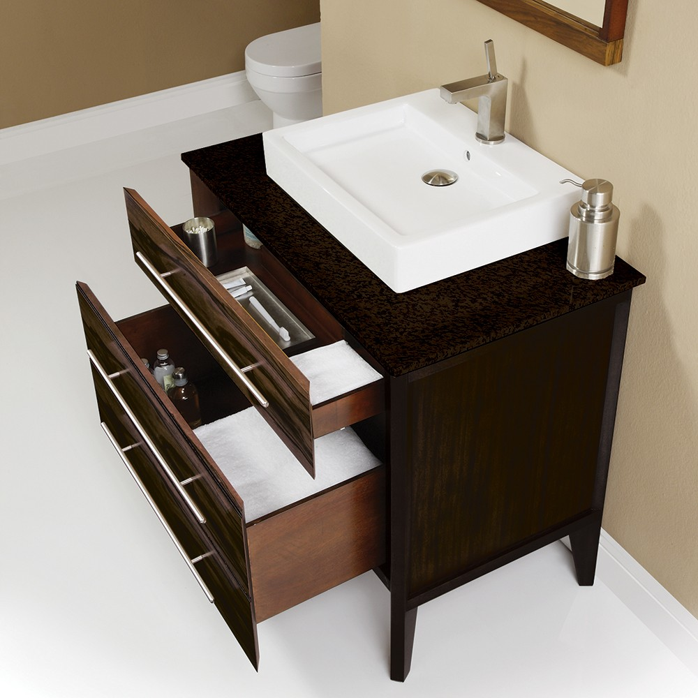 Mila Collection Dual Finish Ebony and Espresso Vanity with Black Granite Top and Above-Counter Lavatory