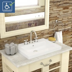 Chloe Rectangular Semi-Recessed Vitreous China Bathroom Sink CWH